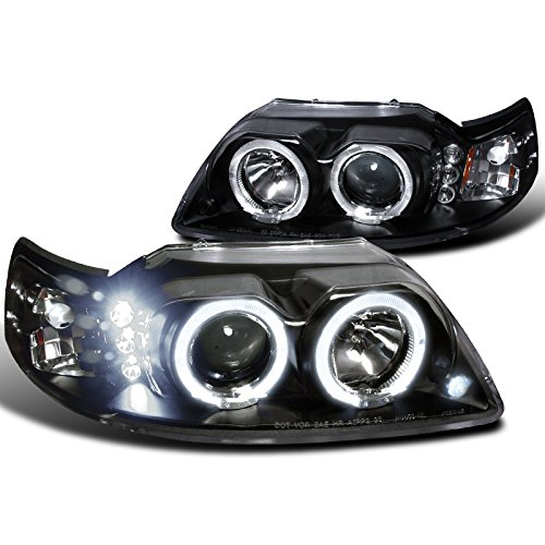 Spec-D Tuning 2LHP-MST99JM-TM Ford Mustang Led Halo Black Projector Head Lights