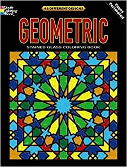 geometric stained glass coloring book deluxe edition with 48 stained glass sheets dover design stained glass coloring book dover 9780486475493 - Stained Glass Coloring Book