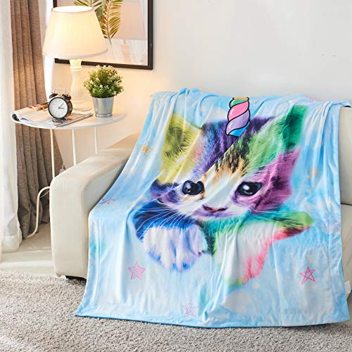 Royal Linens Velvet - Royal Linen Source Kittycorn and Rainbow Super Soft Velvet Blanket (JF593B)