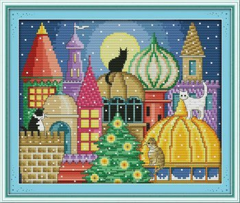 Joy Sunday Cross Stitch kits, The cat city,11CT Stamped, 38c