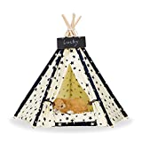 Zaihe Pet Teepee Dog & Cat Bed – Portable Dog Tents & Pet Houses with Cushion & Blackboard, 24 Inch, Up to 15lbs, Stars Pattern For Sale