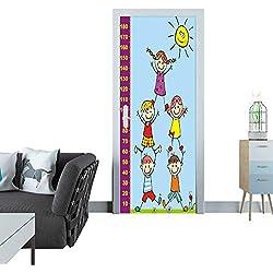 Anmaseven Door Sticker Happy Kids and Sun Height Measure Vector Illustration eps 3D Door Sticker 35x83(90x210 cm)