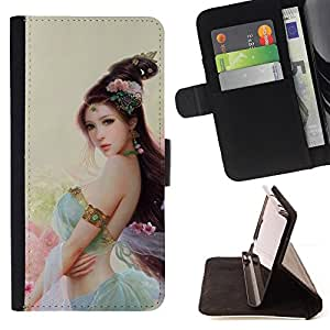 BullDog Case - FOR/Samsung Galaxy Core Prime / - / ASIAN FLOWER PRINCESS /- Monedero de cuero de la PU Llevar cubierta de la caja con el ID Credit Card Slots Flip funda de cuer