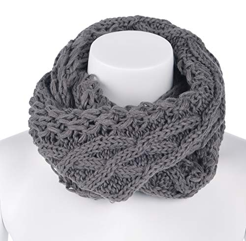 - AMSTAR Womens Soft Warm Thick Ribbed Knit Winter Infinity Circle Loop Scarf (OneSize, Plaid-Grey)