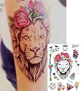 León Tattoo Flores tatuaje falso Tattoo nº 77: Amazon.es: Belleza