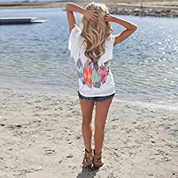 Sinfu Printed T-Shirt Loose,Women Pullover Tops Short Sleeve Casual Blouse Tee Shirt (Asian Size:S)