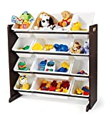 Tot Tutors Kids Toy Storage Organizer with 12 Plastic Bins, Espresso/White (Espresso Collection)