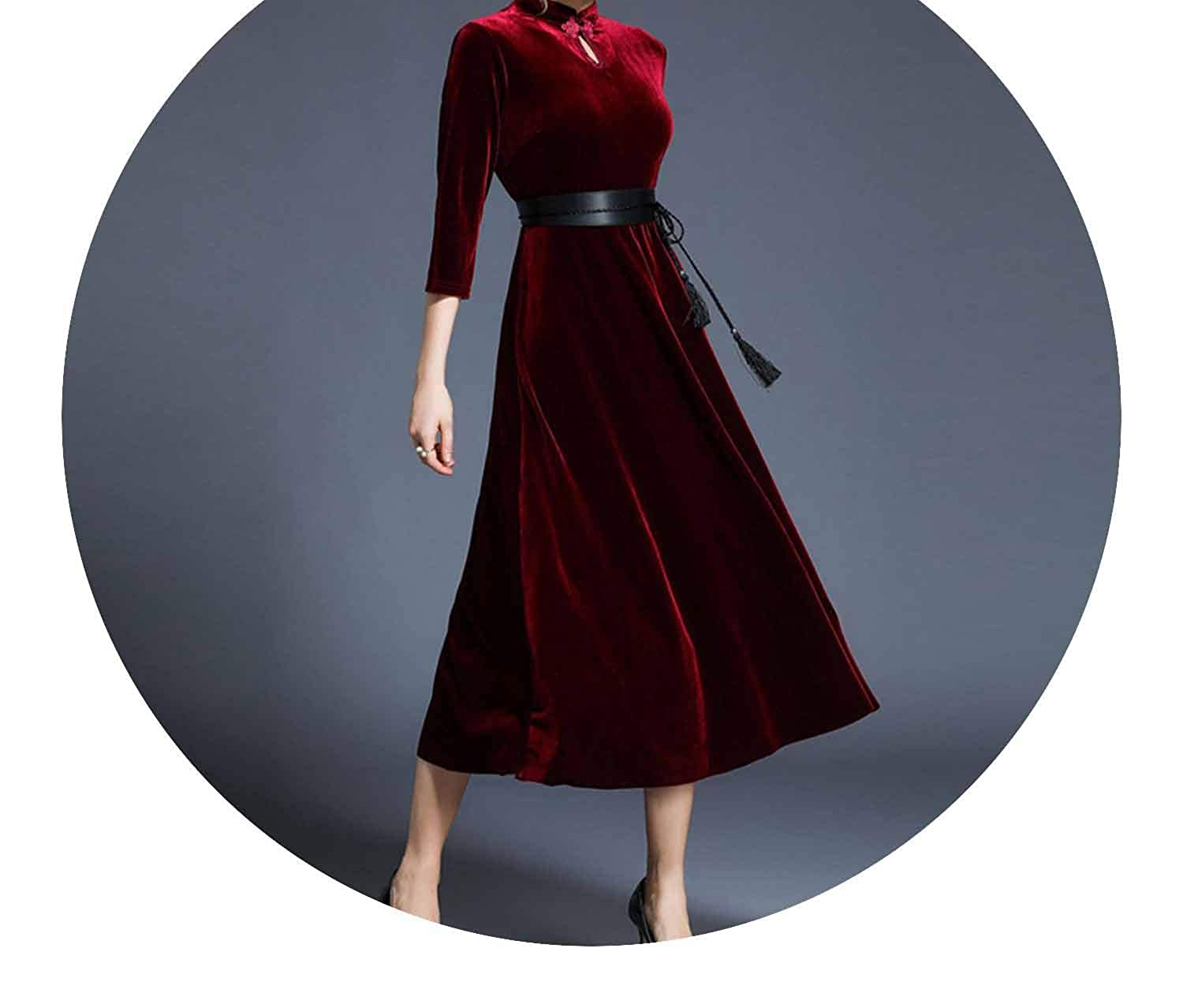 New Year Cheongsam Red Maxi Vestidos Mujer Invierno Long Velvet Dress Vestido Longo K8704 at Amazon Womens Clothing store: