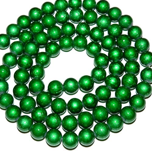 (Green on Green Opaque 10mm Round Drawbench Textured Glass Beads 30#ID-5184)