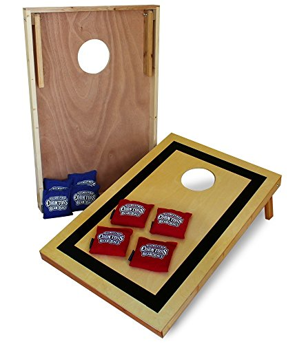 Driveway Games Traditional Tailgate Cornhole Set Wood Corn Toss Boards & All Weather Bean -