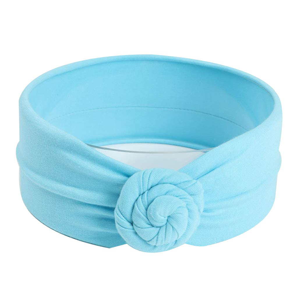 Busirde Baby-Knoten-Stirnband-Kind-M/ädchen-Turban Cotton Kopfbedeckung Wrap geknotete Kind-Haar Accessorie Band Blau