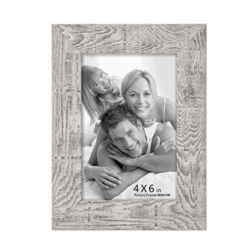 Boichen 4x6 Picture Frame Reclaimed Rustic Wood Finish High Definition Glass Photo Frame Tabletop or Wall