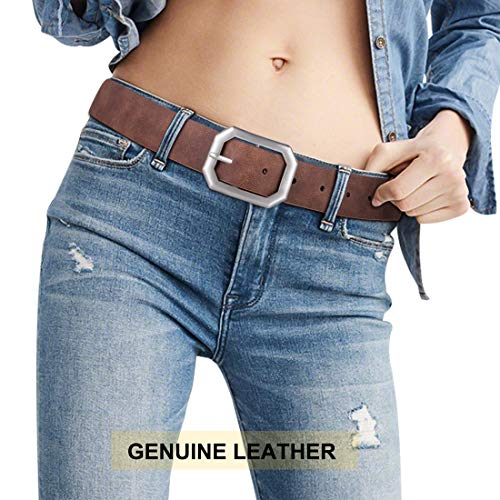 Genuine Leather Women Designer Formal Belt Female Rotated Silver OX 2-side Reversible Waist Jeans Belt Mother's Day Gift (XL) ()