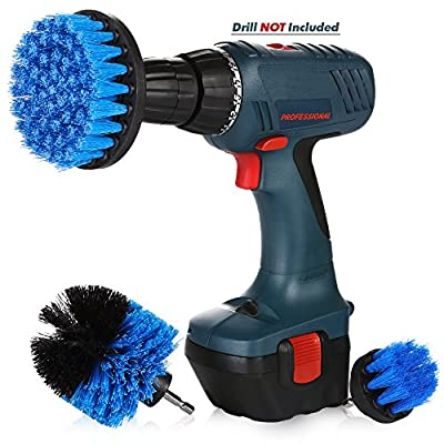 Drill Attachment Power Scrubber – Turbo Scrub Kit of 3 Scrubbing Brushes – All Purpose Shower Door, Bathtub, Toilet, Tile, Grout, Rim, Floor, Carpet, Bathroom and Kitchen Surfaces Cleaner