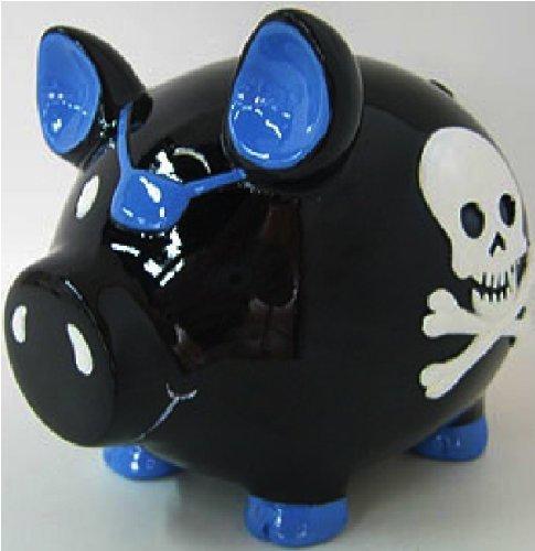 Black Pirate Skull & Crossbones Piggy Bank - 4
