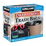 Kirkland Signature Drawstring Trash Bags - 33 Gallon - Xl Size - 90 Count Pack