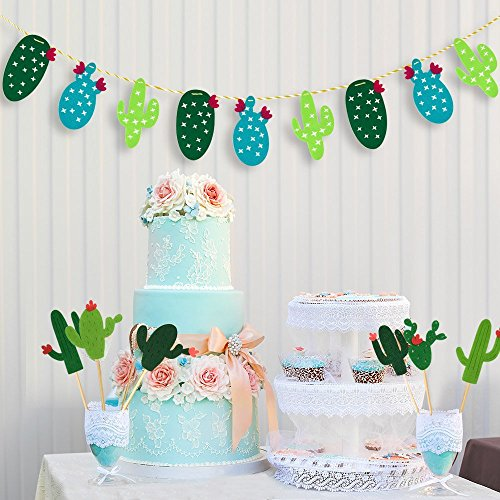 48 Pieces Cactus Cupcake Toppers Cupcake Picks and 1 Pack Cactus Banner for Fiesta West Cacti Theme Birthday Party Supplies Baby shower Decoration by Living Show (Image #4)'