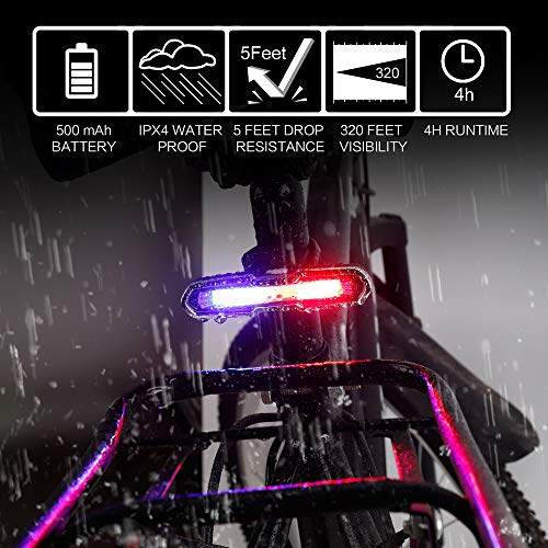 MapleSeeker Bike Tail Light, Rear Bike Light, USB Rechargeable Ultra Bright Bike Light, Easy to Install Waterproof LED Tail Light for Safe Cycling, 5 Lighting Modes (3 Colors)