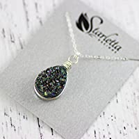 "Rainbow Druzy Teardrop Sterling Silver Necklace - 18"" Length"