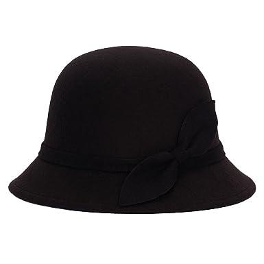 3bcf985b97051 Brawdress Cute Women Faux Wool Felt Bucket Hats Cloche Derby Bowler Cap  With Bowknot (Black