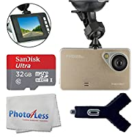"""Dashboard DVR Cam Vehicle HD 1080P 170 Degree Ultra Wide Angle Lens G-Sensor Black Box Driving - 2.6"""" LCD Video Recorder + SanDisk 32GB MicroSDHC Memory Card + Dual USB Car Charger + Cleaning Cloth"""