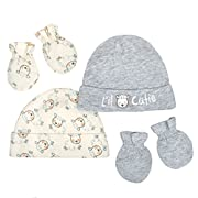 Gerber Baby Infant 4 Piece Organic Cap and Mitten Set, Gray/Ivory, 0-6M