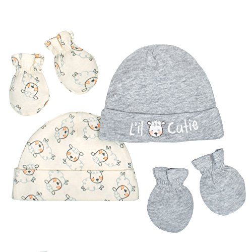 Gerber Baby 4-Piece Organic Cap and Mitten Set, Gray/Ivory, 0-6 Months ()