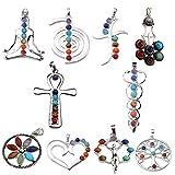 Jovivi 7 Chakras Crystal Quartz Stone Healing Point Rock Reiki Chakra Pendants for DIY Jewelry Making