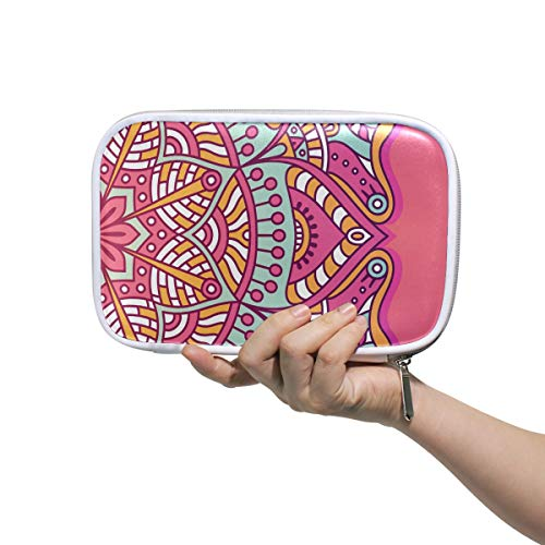 FANTAZIO Pencil Organizer Pink Oriental Style Deluxe PU Leather Cosmetic Bag Pencil Box Large for Pencils or Makeup ()