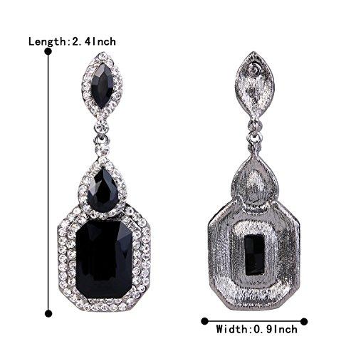 d9cef7d45 BriLove Women's Wedding Bridal Crystal Emerald Cut Infinity Figure 8  Chandelier Dangle Earrings