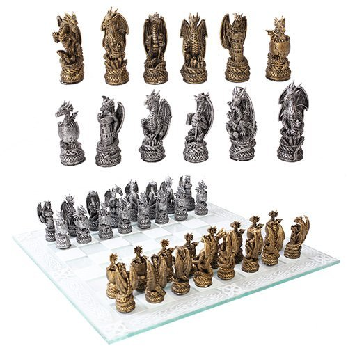 Dragon Chess (Mythical Fantasy Dragon Dungeon Kingdoms Resin Chess Pieces With Glass Board Set)
