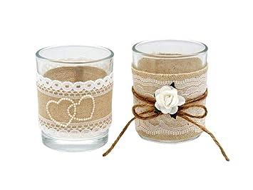 Amazon De 2x Teelichtglas Glas Hochzeit Vintage Tischdeko Natur Deko