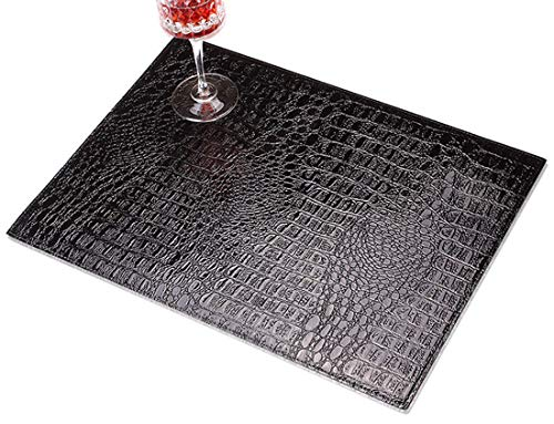 (Crocodile pattern Leather placemat,Waterproof and oil proof,Disposable Table mat,Environmental protection PVC material,Black,18.11