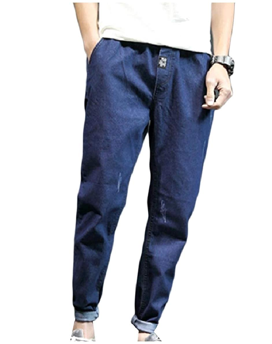 XiaoShop Mens Cozy Casual Washed with Pockets Straight Harem Denim Pants