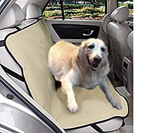 Extra Tough Guarded Khaki Fabric Tan Color Car SUV Vans Truck Pet Dog Cat Seat Covers For Back Seats And Cargo One Size Fits Most Dogs Small