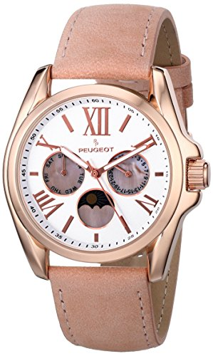 Peugeot Womens 3040RPK Analog Display Japanese Quartz Pink Watch