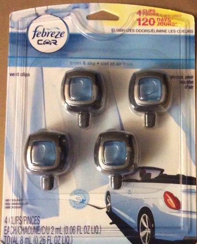 Febreze Car Air Freshener 4 Clips Linen & Sky