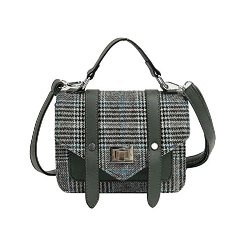 Women Shoulder Tote Ladies Pattern Handbag Cross body Green Double Stachel Vintage Plaid Small Messenger Bag Wool Belt VENMO For In7x5qTpE