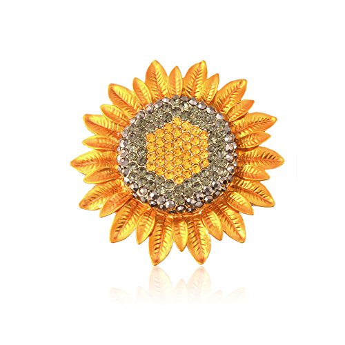 TTjewelry Fashion Jewelry Charming Sunflower Flowers Yellow Rhinestone Crystal Brooch Pin (Crystal Sunflower Brooch)