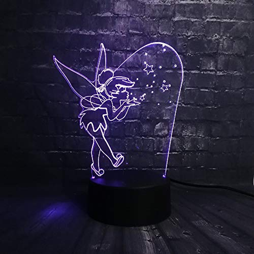 Glcmf 3D Night Light Touch Gift USB Charge Blow Bubbles Elves Tinker Bell RGB Led Baby Sleep Mood Desk Luster Kid Birthday Girl Toy