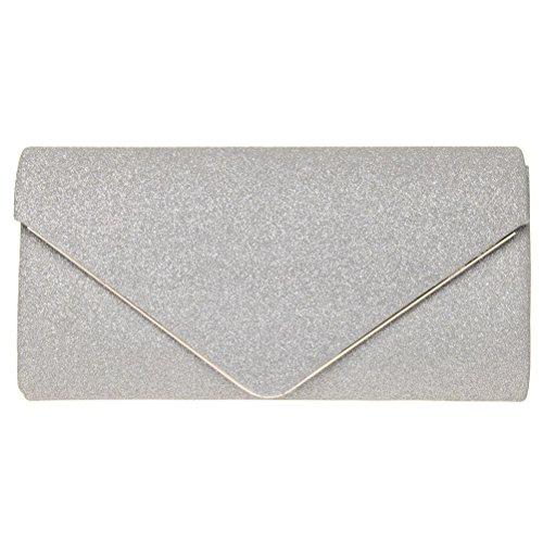 FASHIONROAD Evening Clutch, Womens Shining Envelope Clutch Purses, Handbag For Wedding & Party Silver - Silver Clutch Purse