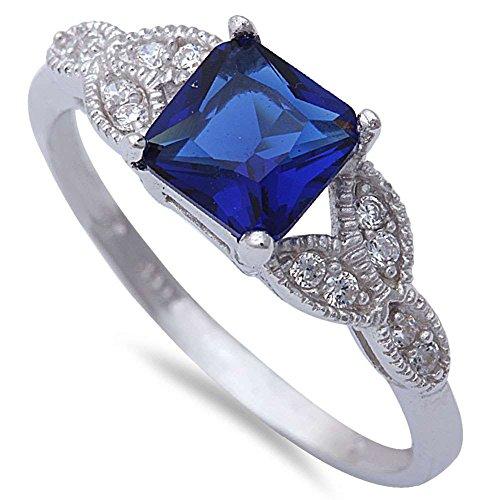 Art Deco Design Wedding Engagement Ring Princess Cut Simulated Blue Sapphire Round CZ 925 Sterlig (Blue Sapphire Princess Cut Ring)