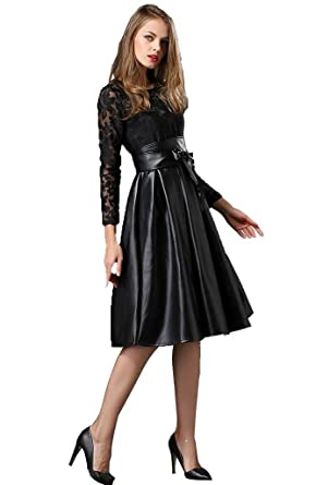 449cb366f95f1 Angel&Lily embroidery lace faux leather swing dress plus1x-10x(SZ16 ...