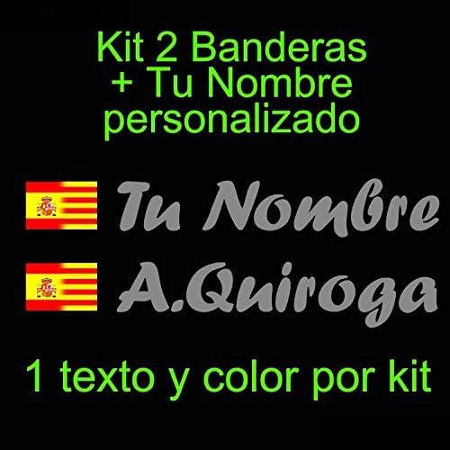 Vinilin - Pegatina Vinilo Bandera España/Cataluña + tu Nombre - Bici, Casco, Pala De Padel, Monopatin, Coche, etc. Kit de Dos Vinilos (Rosa): Amazon.es: Deportes y aire libre