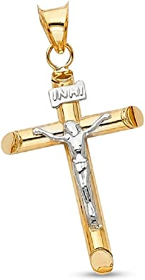 10k Yellow Gold Inri Crucifix Cross Religious Pendant Charm Necklace Budded Fine Jewelry Gifts For Women For Her