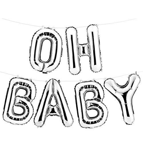 "16"" Set of Silver ""OH BABY"" Letters/ Alphabets Foil Balloons 