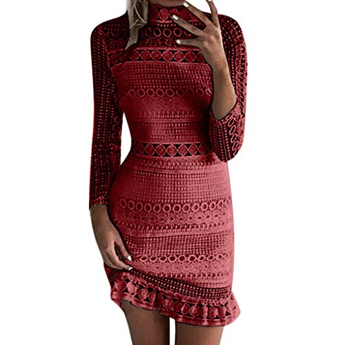 Women's Long Sleeve Lace Floral Elegant Cocktail Dress Crew Neck Knee Length for Party Bandage Pencil Dress Red 38' Cocktail Table Set