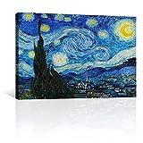 CANVAS REVOLUTION   Cuadro Decorativo Canvas Lienzo Impresión   Arte   Noche Estrellada Por Vincent Van Gogh   Diferentes Dimensiones Tamaños Medidas Disponibles   Decoración De Interiores   Cuadros Minimalistas Modernos   Cuadros Para Sala Comedor Recamara Oficina Cocina (Rectangular, 60 x 40 cm)