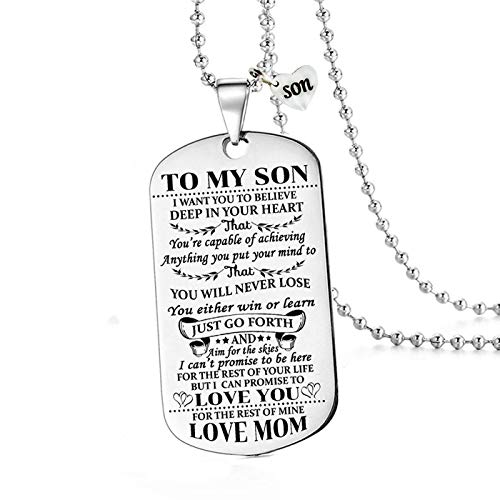 To My Son I Want You To Believe Love Mom Dog Tag Military Air Force Navy Necklace Ball Chain Gift for Best Son Birthday Graduation Stainless Steel (To My Son)