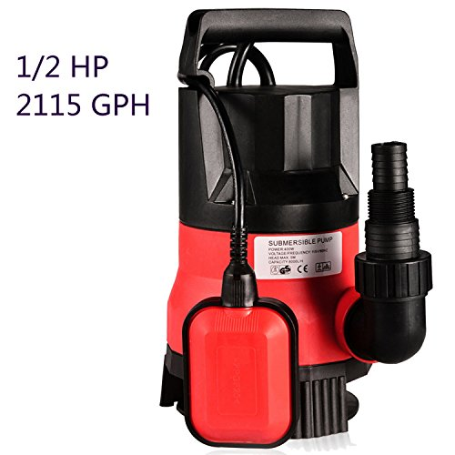 Pool Pump 1/2 HP 400W Automatic Shut Off Water Pressure Pump 110V - Submersible Water Pump with 16-foot Cable and Float Switch - 16' Cable Stainless